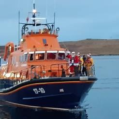 Father Christmas comes to Shetland via the lifeboat.